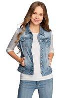 oodji Ultra Damen Jeansweste mit Ziertaschen, Blau, DE 36 / EU 38 / S