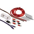 Hama Anschluss-Set für Car Hifi-Verstärker, AMP-Kit mit Powerkabeln (25 mm²), Cinchkabel, Sicherungshalter, Sicherung, Gabelkabelschuhen und Kabelbinder