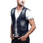 Zicac Herren Weste Denim-Weste im Modern Design Slim Fit Jeansweste (Asien XL - EU: M , Blau)
