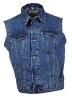 """WESTERN-SPEICHER Jeansweste """"WS"""" Fransen Blau - Größe 5XL"""