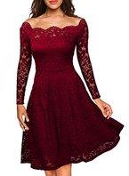 Miusol Damen Vintage 1950er Off Schulter Cocktailkleid Retro Spitzen Schwingen Pinup Rockabilly Kleid Rot Gr.S
