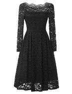 YesFashion Damen Kleid Spitzenkleid Abendkleid Partykleid Knielang A-Linie Langarm Schwarz 38 (Asin L)