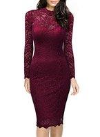 Miusol Damen Elegant Kleider Rundhals Knilanges Rotwein Spitzenkleid Stretch Ball-Abendkleider Gr.S