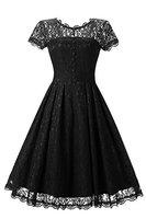 Gigileer Elegant Damen Kleider Spitzenkleid Cocktailkleid Knielanges Vintage 50er Jahr hochzeit Party schwarz L