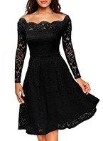 ASCHOEN Damen Abendkleid Vintage Off Schulter Cocktailkleid Retro Spitzen Langarm Kleid Schwarz L