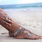 Jane Stone Damen Fußschmuck böhmisch Münzen Charms alt silbriges Fußkettchen aus Metalllegierung