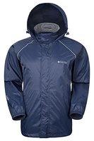 Mountain Warehouse Herren Pakka Wasserdicht Jacke Regenjacke Einpackbar Faltbar Mantel Windjacke outdoor sport Marineblau Medium