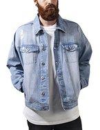 Urban Classics Herren Jacke Ripped Denim Jacket, Mehrfarbig (Bleached 14), Large (Herstellergröße: L)
