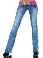 L530 Damen Jeans Hose Hüfthose Damenjeans Hüftjeans Bootcut Schlag Schlaghose, Farben:Blau;Größen:38 (M)