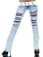 L548 Damen Jeans Hose Hüfthose Damenjeans Hüftjeans Bootcut Schlag Schlaghose, Farben:Blau;Größen:40 (L)