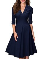 Miusol Damen 3/4 Arm Sommer Rockabilly Cocktailkleid Stretch Business retro 50er Jahre Kleid Blau Groesse M