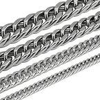 Königskette Panzerkette Armband Set o. einzeln aus Edelstahl schwarz silber gold, Größe:10 mm;Farbe:Silber;Auswahl:Kette 60 cm