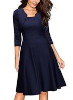 Miusol Damen Abendkleid Elegant Cocktailkleid Vintage Kleider 3/4 Arm mit Spitzen Knielang Party Kleid Navy Blau Gr.L