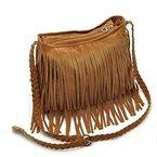 Frauen Handtasche Troddelbeutel Umhängetasche Schultertasche Messenger Tote Shoulder Bag Fringe (Braun)