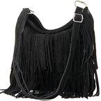 ital. Ledertasche Umhängetasche Fransentasche Schultertasche Damentasche Wildleder T125, Präzise Farbe:Schwarz
