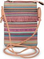 styleBREAKER Minibag Umhängetasche mit bunten Streifen und Fransen, Ethno Style, Schultertasche, Tasche, Damen 02012129, Farbe:Bunt