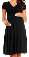 Happy Mama Damen Viskosejersey Umstandskleid Schwangerschafts Kleid Kurzarm 108p (Schwarz, EU 38, M)