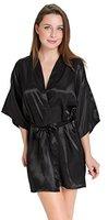 Aibrou Damen Morgenmantel glatte Satin Nachtwäsche angenehmer Bademantel Kimono Negligee Seidenrobe locker weicher Schlafanzug Glanz Look kurz