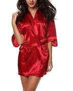 Avidlove Damen Morgenmantel Kimono kurz Satin nachtkleid