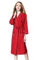 Aibrou Bademantel Damen waffelpique Morgenmantel Baumwolle Schlafanzug alle Jahreszeiten Nachthemd V Kragen Waffel Typ Saunamantel Frottee Kleidung
