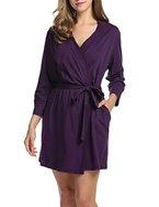 HOTOUCH Damen Morgenmantel Bademantel Nachtwäsche tiefer V-Ausschnitt Schlafanzug aus Baumwolle langarm mit Gürtel
