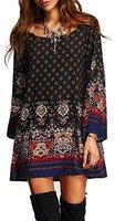 Summer Mae Damen Langarmshirt Blusenkleid Bohemien Vintage Tunika Minikleid Rundhals