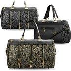 Damentasche mit Spitze Shopper Bag Schultertasche Spitzenstickerei - Optik Reißverschluss (silber/schwarz)