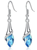 OneChance Damen Ohrring Kollektion Blau Kristall Teardrop Ohrhänger