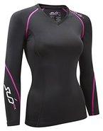Sub Sports Damen RX Abgestufte Kompressionsshirt Funktionswäsche Base Layer langarm, Schwarz/Rosa, XL