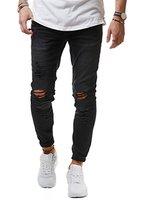 EightyFive Herren Jeans Denim Hose Slim Fit Destroyed Zerrissen Schwarz Weiß Khaki EF1512, Farbe:Schwarz, Hosengröße:W29 L32
