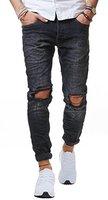 RedBridge Herren Jeans Hose Denim Slim Fit Destroyed Zerrissen Verwaschen Schwarz M4098, Farbe:Schwarz;Hosengröße:W30 L32