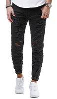 New Stone Herren Jeans Hose Slim Fit Distressed Destroyed Zerrissen Schwarz Weiß ZS516, Farbe:Schwarz;Hosengröße:W33;Schrittlänge:L32