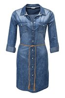 Only Damen Jeanskleid Hemdblusenkleid (M, Light Blue Denim)