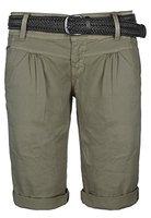 Fresh Made Damen Bermuda-Shorts im Chino Style | Elegante kurze Hose mit Flechtgürtel middle-green L