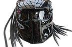 Motorrad-Helm Predator X1Schwarz mit LED-Beleuchtung Made by XFF Fiber Factory