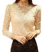 Minetom Best-Preis Chic OL Damenbluse Spitzenbluse Lace Hemdbluse Langarmshirts Perlen Stehkragen Tops in 5 Farben