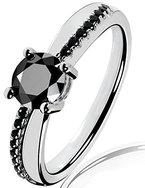 Lars Benz LUXUS Damen-Ring Verlobungsring Swarovski Zirkonia 1,4 Karat 6mm schwarz Sterling-Silber 925 Zertifikat Solitärring Antragsring Vorsteckring Silberring klassisch ORIGINAL 53-mm