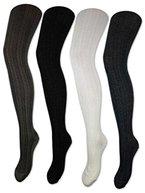 Damen Strumpfhose Baumwolle Strickstrumpfhose Schwarz Weiß Anthrazit Grau - 10717 (XL, Schwarz)