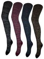 Damen Strumpfhose Baumwolle Meliert Strickstrumpfhose Schwarz Grau Blau Braun Beige Rot - 89170 (M, Grau/Schwarz)