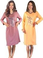 Damen Langarm Nachthemd reine Baumwolle 2 Stück Packung DFNeo 48/50