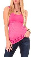 Mehrere Farben Damen Top Baumwoll Tanktop Longshirt Trägertop Baumwolle Tunika Onesize Pink