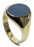 Unisex Siegelring Wappenring 925 Sterling Silber vergoldet Lagenonyx grau-schwarz für Steingravur Größe 59 M03-A0002