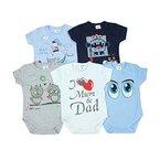 Baby Kurzarm-Body mit Aufdruck Spruch 100% Baumwolle Jungen Babybody Mädchen im 5er Pack, Farbe: Junge, Größe: 62
