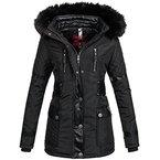 Navahoo Damen Designer Winter Jacke warmer Mantel lang Parka gefüttert B304 [B304-Suri-Schwarz-Gr.L]