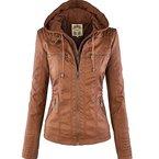 Newbestyle Herbst Winter Kapuzen Kunstleder Damen Jacke Jacket Ladies Oberbekleidung Lederjacke Khaki Large