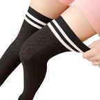 DDLBiz® College Mädchen Wind Overknee Strümpfe über Kniestrumpf (Schwarz)