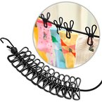 Flexible Wäscheleine mit 12 beschichteten Klammern,180-360cm, KKtick Super Praktisch auch für Reise Urlaub Outdoor Camping (schwarz)