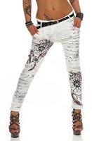 ZARMEXX Damen Boyfriend Baggy Hose Jeanshose Jeggings Stretch Chinohose mit Gürtel 10912 Letter-Fantasy -Print (XL/42, Weiß)