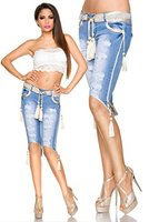 Capri-Jeans mit Kordeln, Größe:38