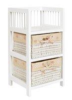 ts-ideen Kiefer Roll Kommode Bad Flur Küchen Regal Schrank Nachttisch Schlafzimmer in Weiß Kunststoff Körbe 56 x 30 cm